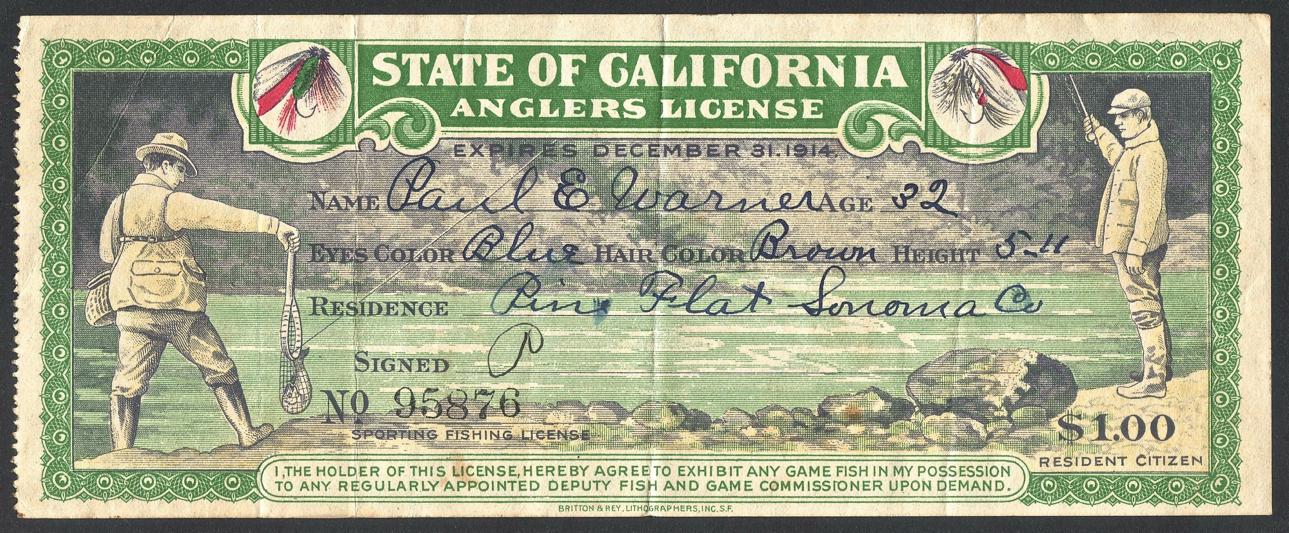 1914 california fishing licenses 2 bass angler magazine for Kentucky out of state fishing license
